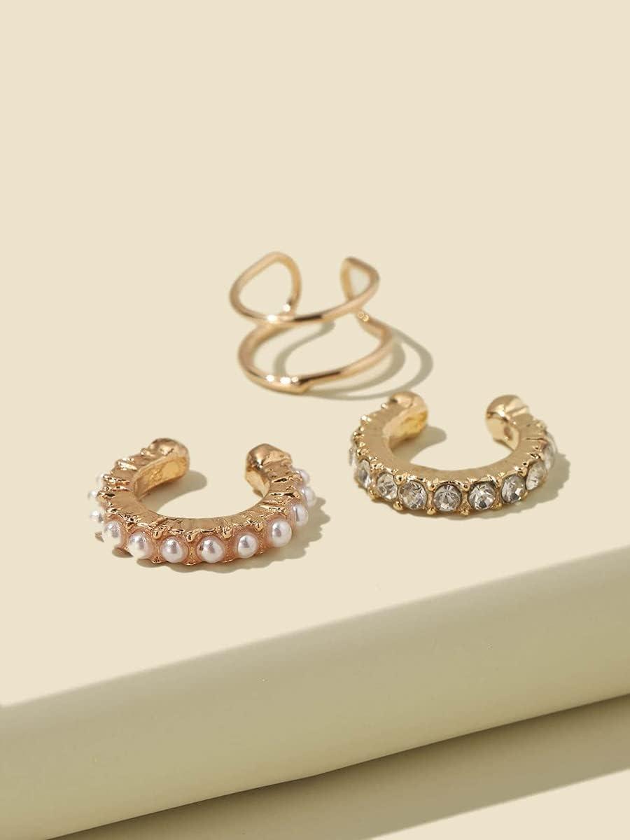 FYJIDY Hoop Earrings Rhinestone & Faux Pearl Ear Cuff Set - 3pcs (Color : Gold, Size : OneSize)