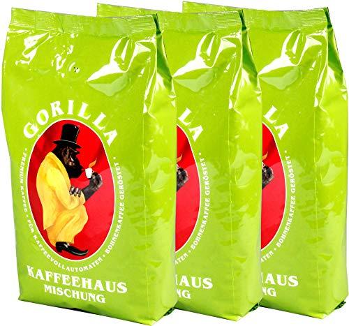 Joerges Gorilla Kaffeehaus-Mischung, 3er Vorteilspack (3x 1000g), ganze Kaffeebohnen, Röstkaffee, Caffè