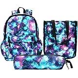Vbiger Schulrucksack Jungen Teenager Schultasche Kinder Rucksack Daypack 3 Teile Set für Jungen Schule und Freizeit Dunkelblau (Galaxy Green)