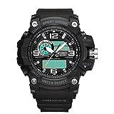 GYJUN Digitaluhr für Herren Outdoor Sport wasserdichte Armbanduhren Komplette Kalender Hintergrundbeleuchtung Chronograph Wochenanzeige Automatisches Datum,Black