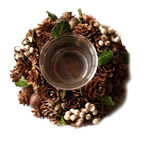 NINGYE 1 Stück künstlicher Weihnachts-Kranz-Teelicht mit Weihnachtsblume, Tannenzapfen, Holz-Kerzenhalter für Zuhause, Hochzeit, Party-Dekoration