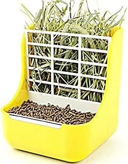 Misyue Hay for Bunnies Small Animal Supplies Plastic Pet Rabbit/Chinchillas 2 in 1 Feeder Bowls Double use for Grass/Food