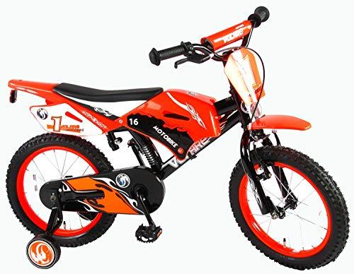 Volare Motobike - Bicicleta Infantil (Ruedas de Apoyo premontadas, 16 Pulgadas), Color Negro y Naranja