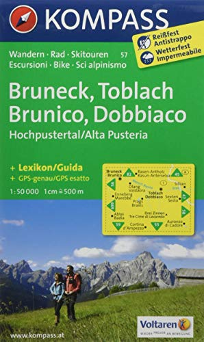 Carta escursionistica n. 57. Brunico, Dobbiaco, Alta Val Pusteria-Bru neck, Toblach, Hochpustertal. Adatto a GPS. Digital map. DVD-ROM: Wanderkarte ... Skirouten. GPS-genau. Dt. /Ital. 1:50000