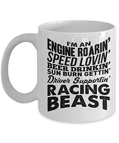 Funny Mug - race car gifts for men - car race novelty - Racing Beast - racing mug - racing coffee cup