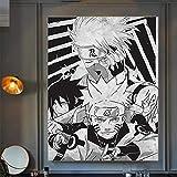Cuadro de lienzo para el hogar, negro, blanco, Naruto, decoración japonesa, anime, pared, impresión HD, para dormitorio, póster para niños, regalo (40 x 60 cm)