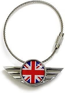 iJDMTOY Chrome Polished Alloy Metal Classic Red/Blue UK Union Jack Wing Shape Key Chain Ring Keychain for All Mini Cooper R50 R52 R53 R54 R56 R57 R58 R59 R60 R61 F54 F56 F60, etc