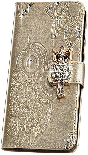 JAWSEU Kompatibel mit Samsung Galaxy A20 Hülle Lederhülle,3D Eule Mandala Glitzer Diamant Flip Case Wallet Tasche Brieftasche Schutzhülle Ledertasche Flip Hülle Ständer für Galaxy A20 Gold