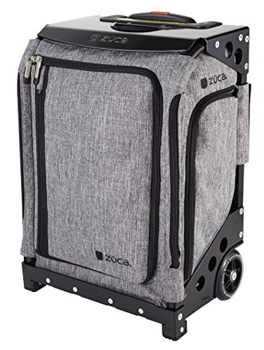 Zuca Navigator Carry-On Wheeled Suitcase with Built-In Seat: Charcoal Gray Bag with Black Frame
