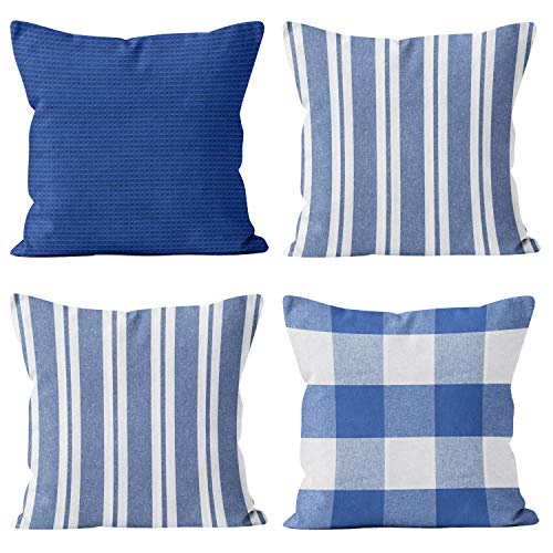 Encasa Homes Fundas de Cojín (Juego de 4 Piezas) - Cheques, Rayas y sólidos Fundas de Almohada para sofá, Cama - Eco-algodón de Colores Brillantes, diseños clásicos - Lavable a máquina - Azul