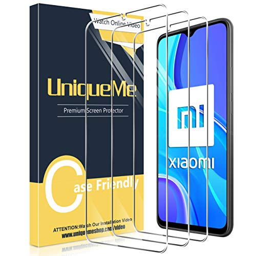 UniqueMe [3 Pezzi] Vetro Temperato Compatibile con Xiaomi Redmi 9 Pellicola Protettiva con Un