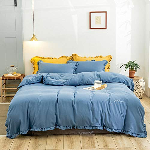 LDDPP Duvet Cover Set,four-piece Bed Sheet Quilt Cover Washed Cotton White Ruffled Duvet Quilt Cover With Zipper Bedding Set Queen Size-shabby Ruffle