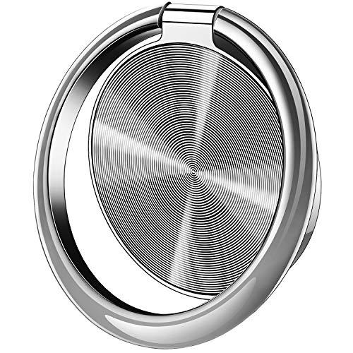 スマホリング 携帯リング 薄型 バンカーリング マグネット 車載ホルダー対応 180°反転 360°回転 落下防止 指輪型 スタンド機能 ホールドリング フィンガーリング iPhone Xperia Galaxy ARROWS HUAWEI各種対応 (シルバー)