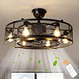 """Depuley Farmhouse Ceiling Fans with Light, 26"""" Industrial Indoor/Outdoor Ceiling Fan Lighting, Matte Black Flush Mount Ceiling Fan Light Kit, Remote Control 3 Wind Speed(6-Blade, E26 Bulb Not Include)"""
