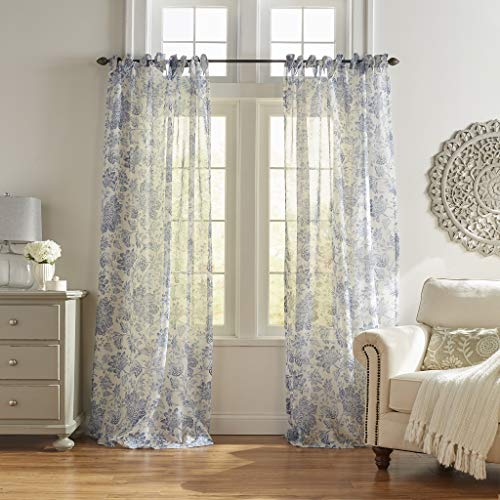 "Elrene Home Fashions Westport Floral Tie-Top Sheer Window Curtain Panel, 52"" x 84"" (1), Indigo"