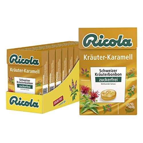 Ricola Kräuter Karamell, Schweizer Kräuterbonbon, 10 x 50g Böxli, ohne Zucker, Wohltuender Genuss