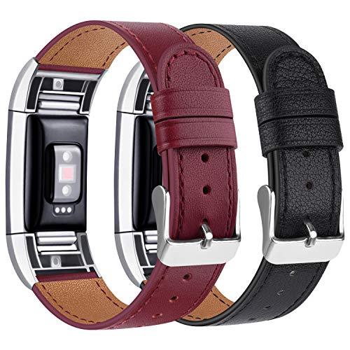 Tobfit Kompatibel für Fitbit Charge 2 Armband, Klassische Echtleder-Armband-Metallverbinder für Fitbit Charge 2 (Kein Uhr) (02 Schwarz/Weinrot, 5.5