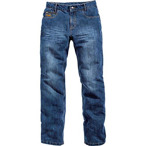 FLM Motorrad Jeans, Motorradhose Sports Aramid-/Baumwolljeans 1.0, schmutzabweisendes Material, 2 Einschubtaschen, höhenverstellbare Knieprotektoren, Taschen für Hüftprotektoren, Blau, 40/34