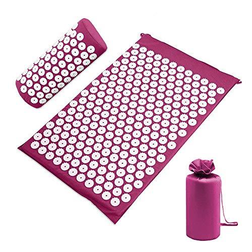 Akupressur-Set, TRUBUY Akupressurmatte mit Kissen für Entspannung von Kopf, Nacken, Rücken und Körper, Schmerzlinderung und Muskel Entspannung (Lila)