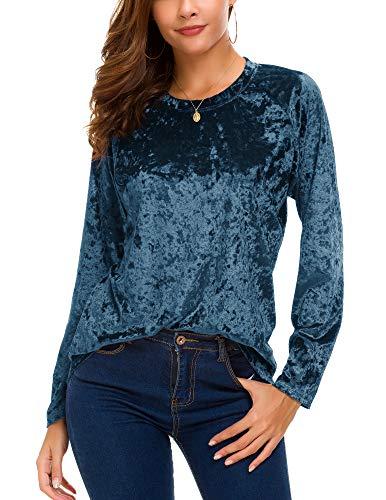 Women's Vintage Velvet T-Shirt Casual Long Sleeve Top (L, Blue)