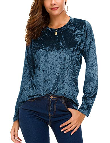 Women's Vintage Velvet T-Shirt Casual Long Sleeve Top (L, Blue)