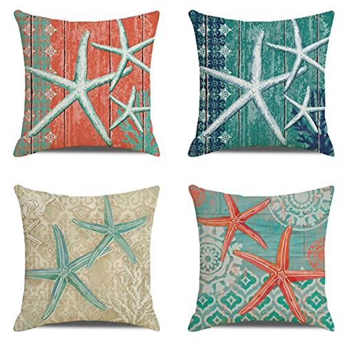 JOVEGSRVA Juego de 4 fundas de cojín decorativas de lino cuadrado para casa, oficina, sofá, coche, jardín, 45 x 45 cm, diseño de estrellas de mar