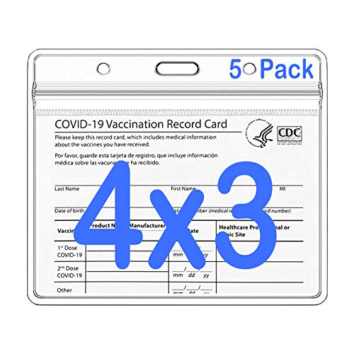 CDC Vaccine Card Protector Vaccination Card Holder with Waterproof Type Resealable Zip 3x4 Iinches, Plastic Clear ID Card Holder Name Tags Badge Holders - 5 Pack