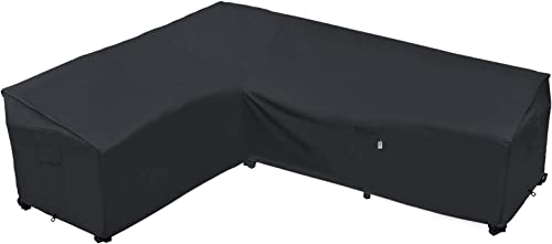"""Heavy Duty Outdoor Sectional Sofa Cover, 85""""X105"""" Waterproof 100% 600D Patio Sectional Couch Cover, Lawn Patio Furnit..."""