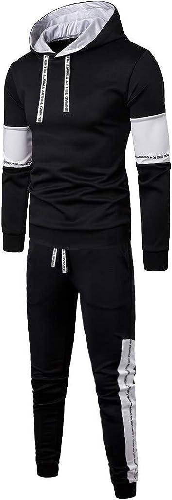 Mens Patchwork Autumn Winter Sweatshirt Top Pants Sets Sport Suit Tracksuit