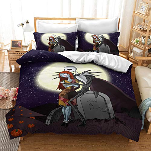 Character Printed Bedding Set The Nightmare Before Christmas Hypoallergenic Quilt Cover Sets Microfiber Bedding Set Bedding Set with Pillowcases Quilt Cover+Pillow Cover*2 Various sizes,UK Superking