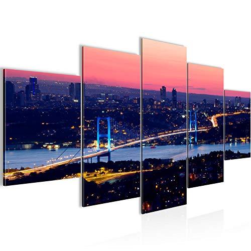Runa Art - Bilder Istanbul Türkei 200 x 100 cm 5 Teilig XXL Wanddekoration Design Blau 6038a