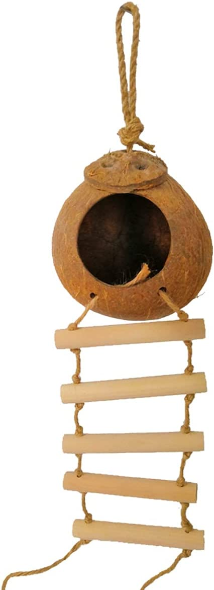 PetPhindU Bird Nest Coconut supreme National products House with Hanging Coc Ladder