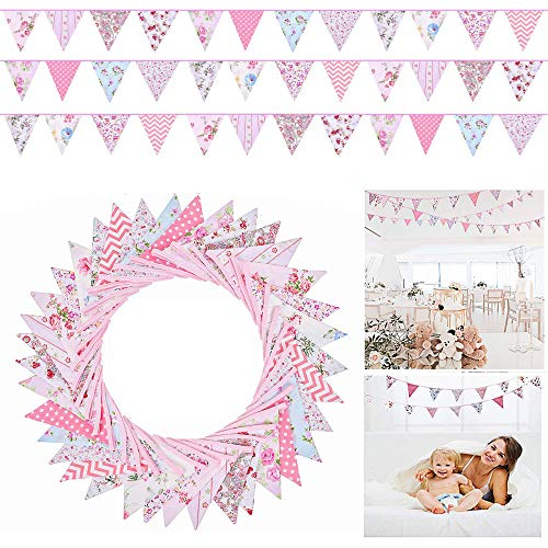 Qune 36 Feet Double Sided Fabric Bunting Banner Vintage Reusable Cotton Triangle Flag Garland Decoration for Garden Wedding Baby Shower Birthday Parties (Pink)