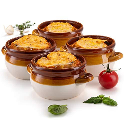 French Onion Soup Crocks, by KooK, Ceramic Make, Large Handles, Stoneware, 16oz Full Capacity