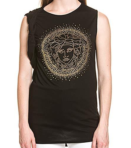 Versace Medusa Long-Top hochwertiges Damen T-Shirt im Wasserfall-Stil mit Strassstein-Besatz Fashion-Shirt Sommer-Shirt Schwarz, Größe:40