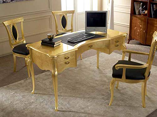 Dafne Italian Design Studio-Schreibtisch mit Stühlen, klassischer Stil, goldfarben lackiert (cm. L 150 - T 67 - H 80) (TVG)