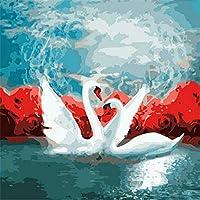 DIY油絵キットブラシとアクリル顔料付きグリーンリーフパンサー子供大人のためのDIYキャンバス絵画数字による初心者ペイントDIY油絵16X20インチ(フレームなし)