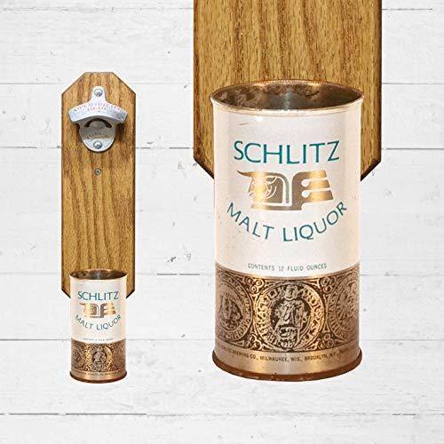 Wall Mounted Bottle Opener with Vintage Schlitz Beer Can Cap Catcher