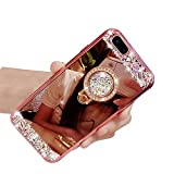 iPhone 7 Plus Crystal TPU Mirror Case,Lozeguyc Handmade Bling Diamond Cover iPhone 8 Plus 5.5 Inch Fashion Beauty Case Rhinestone Ring Stand Shockproof Sleek Case for Girl Women-Rose Gold
