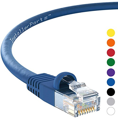 InstallerParts (10 Pack) Ethernet Cable CAT5E Cable UTP Booted 2 FT - Blue - Professional Series - 1Gigabit/Sec Network/Internet Cable, 350MHZ