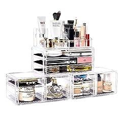 化粧品収納ボックス DreamGeniusメイクボックス 高级感 引き出し 小物/化粧品入れ メイクケース 小物 収納 透明アクリル 4段 プレゼント (4セット)