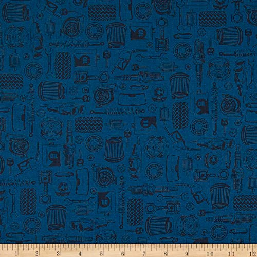 American Muscle Tone-on Tone Car Parts Navy Quilt Fabric by The Yard