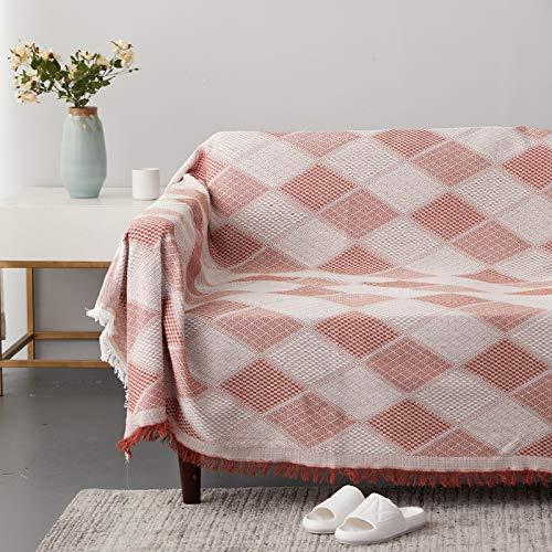 MMHJS European-Style Simple Retro Striped Plaid Sofa Towel Tassel Anti-Skid Dust-Proof Carpet Coffee Table Desk Living Room Decoration Cloth Bedroom Homestay Blanket