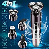 Electric Shavers for Men, Rechargeable 4 in 1 Dry Wet Men's Electric Razor Waterproof Portable Rotary Shaver Face Beard Trimmer USB Cordless Nose Trimmer Facial Cleaning Brush for Travel Dad Husband