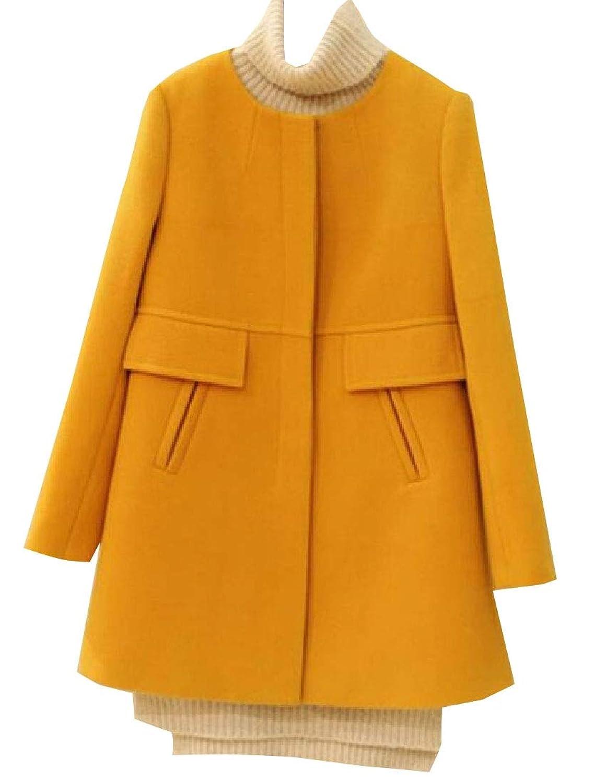 maweisong 女性のウールのシングル?ブリード?ジャケットは、長い袖のコートを着ている
