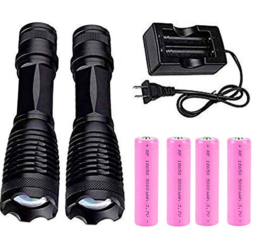 Flashlight 2000 LM(2 Packs) and 3.7V Rechargeable Battery(4PCS) and Charger,XML-T6 Water Resistant Light- 5 Modes,Zoomable-Camping Gear,Emergency Flashlight,Ultra Bright Torch,For Outdoor Sports