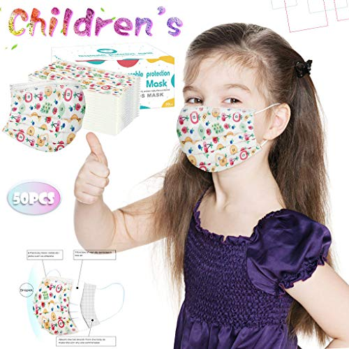Laotie 3 Ply Non-Woven, Disposable Face Bandanas, Cloth Covering, No Washable, Breathable Face Health Suitable for Kids (Fruit Print-50PC)