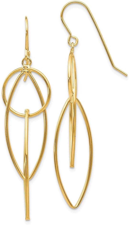Beautiful Yellow gold 14K Yellowgold 14k Polished Oblong Dangle Earrings
