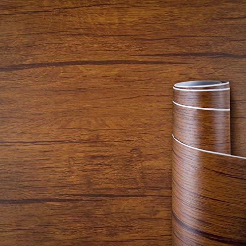 AWNIC Vinilo Papel Adhesivo para Muebles Grano de Madera Marrón/Muebles Pegatinas Impermeable a Prueba de Aceite para el Forro de los Muebles/Armario Mesa Baño Cocina Decoración 300x40cm