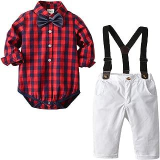 Mornyray Babyoys Long Sleeve Lattice Romper and Matching Suspender Pants Gentleman Set